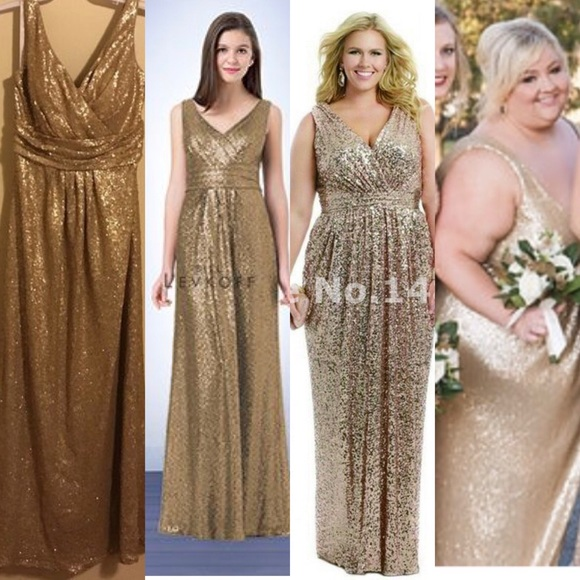 Bill Levkoff Gold Sequin Plus size Dress